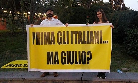 ITALY: activists listed for a banner on Regeni at Minister of Interior's rally