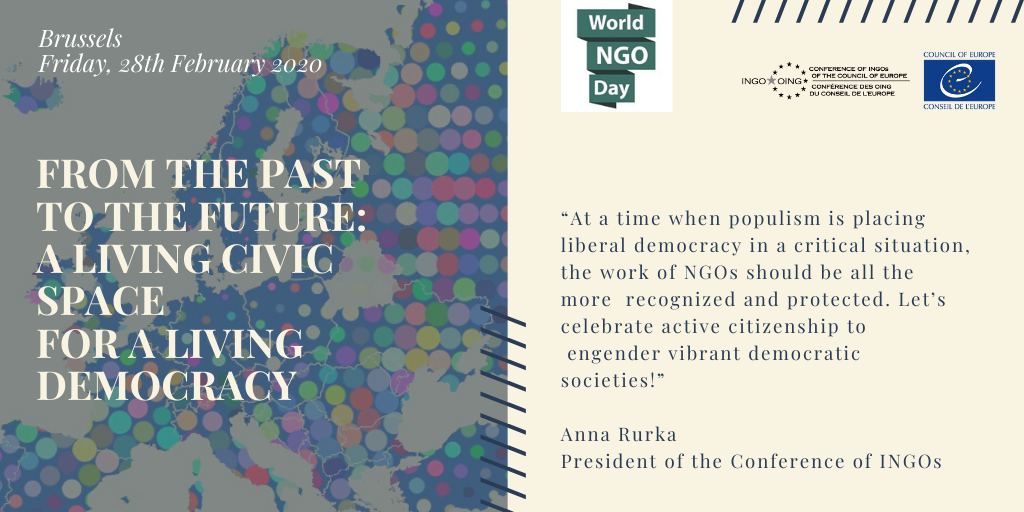 """World NGO Day – Seminar: """"From the Past to the Future: A Living Civic Space for a Living Democracy"""""""