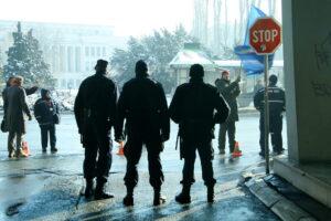 Police officers in the streets of Novi Sad, Serbia